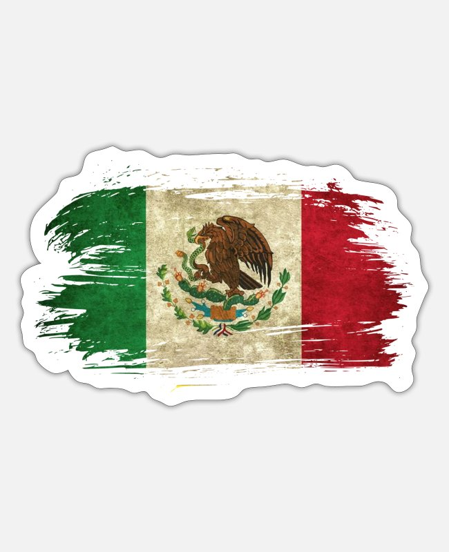South American Stickers - Mexico Vintage Flag / Gift Present - Sticker white matte