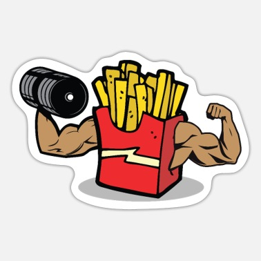 Fries bobybuilding fries - Sticker
