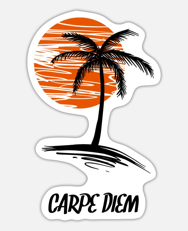 Sunset Stickers - Carpe Diem SunSet Palm Nice Gift - Sticker white matte