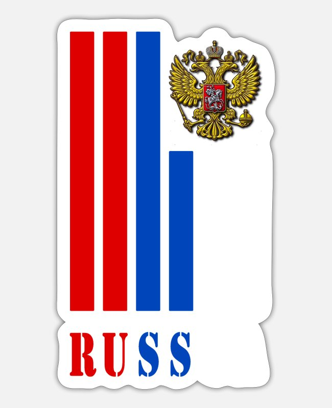 Communist Stickers - Russia beams with coat of arms and national colors - Sticker white matte