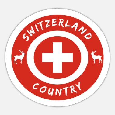 National Colours Switzerland Circle with National Colours / Gift - Sticker