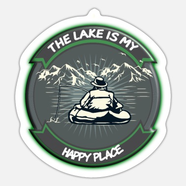 Happy River Fish Fishing The Lake Is My Happy Place - Sticker