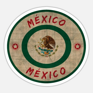 Monterrey Mexico Circle Vintage with National Colors / Gift - Sticker