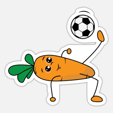 Carrot Cartoon Carrot Soccer Cartoon - Sticker