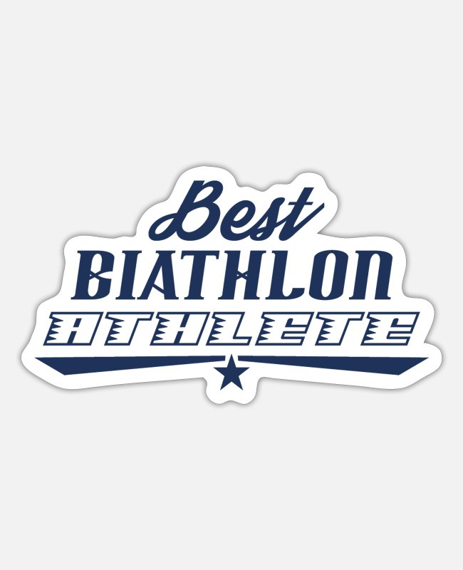 Giant Slalom Stickers - Biathlon Runner Biathlon Biathlons Sports Athlete - Sticker white matte