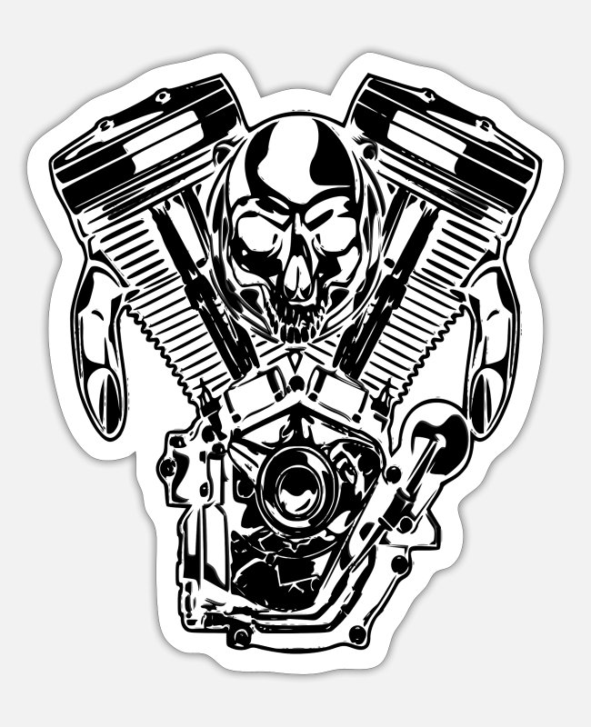 Pilot Stickers - Cool skull with guns - Sticker white matte