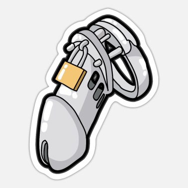 MALE CHASTITY DEVICE CUCKOLD SLAVE SUB Penis Cage - Sticker