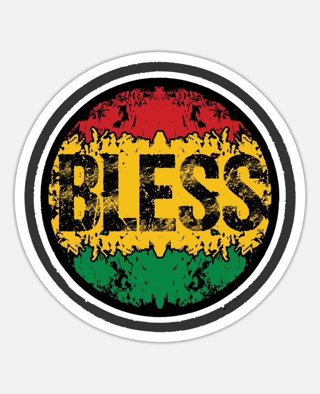 Rastafari Stickers - bless jah reggae - Sticker white matte