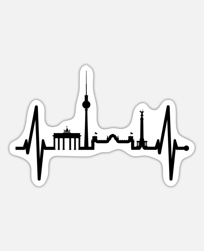 Skyline Stickers - Berlin Heartbeat Skyline Germany Fan Lover Gift - Sticker white matte