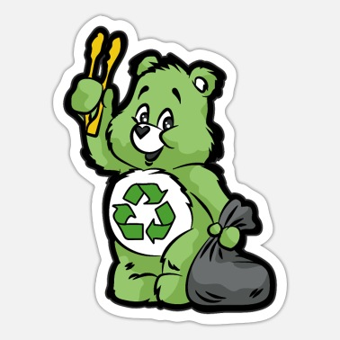 Enviromental TEDDY BEAR RECYCLE RECYCLING TRASH ENVIROMENTAL - Sticker