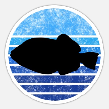 Whit Triggerfish whit blue stripes - Sticker