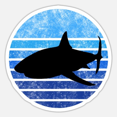 Whit Shark whit blue stripes - Sticker