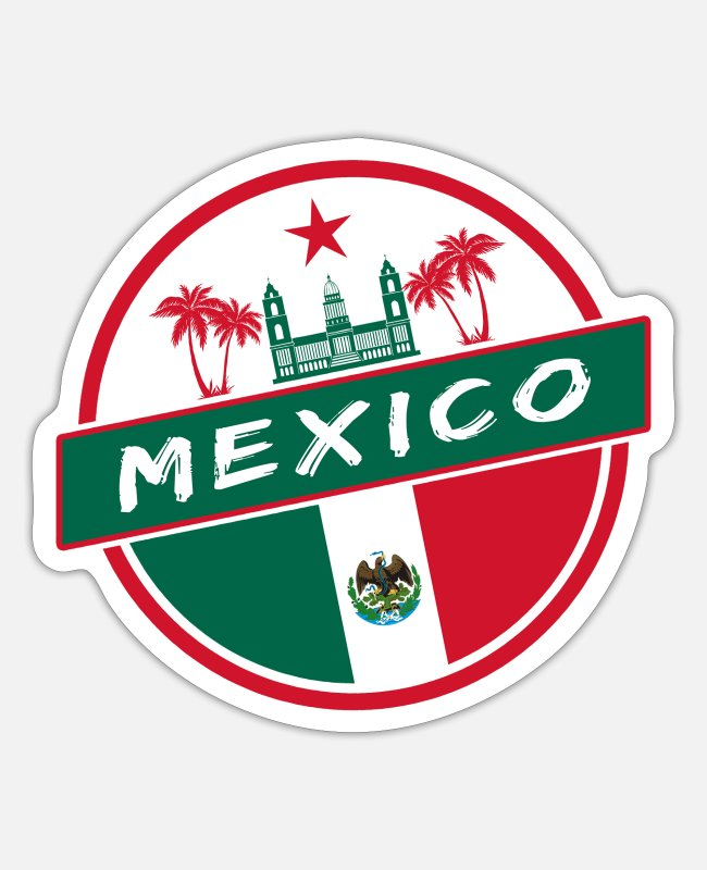 South American Stickers - Mexico Design with Palace and Palms / Gift - Sticker white matte