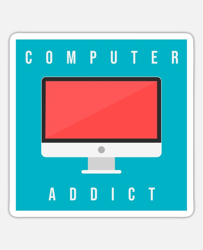 Computers Stickers - Computer addict - Sticker white matte