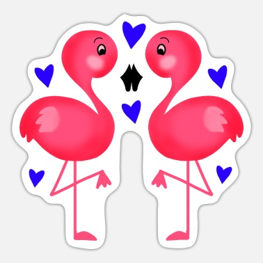 Beak Two cute pink flamingos in love. Beak to beak. - Sticker