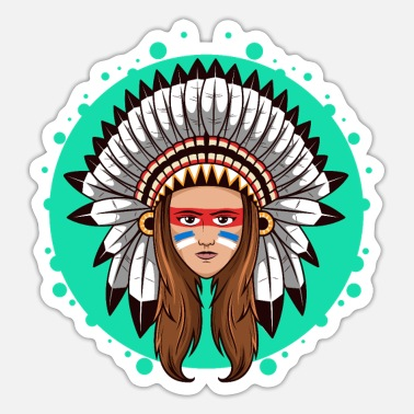 American Indian American Indian Girl - Sticker