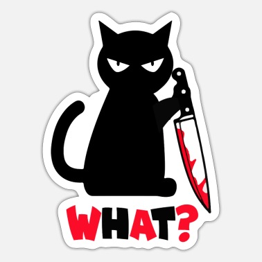 What What Black Angry Cat Knife - Sticker