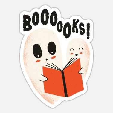 Funny ghosts reading books Boooo becomes booooks - Sticker