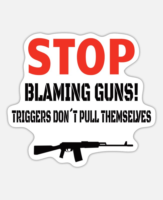 Heart Stickers - GUNS: Stop Blaming Guns - Sticker white matte