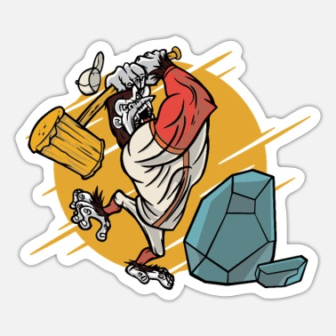 Baseball Gorilla Baseball with angry gorilla smashing stone - Sticker