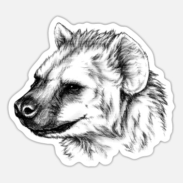 Spot Light Spotted Hyena Animal Portrait (for light products) - Sticker