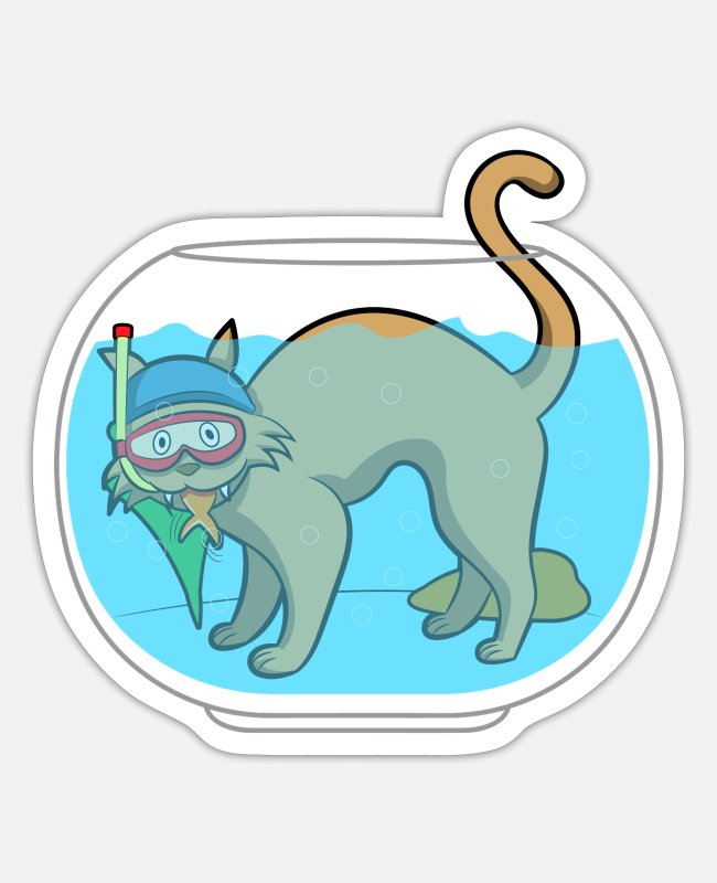 Diver Stickers - DIVING CAT AND THE POOR GOLDFISH - Sticker white matte