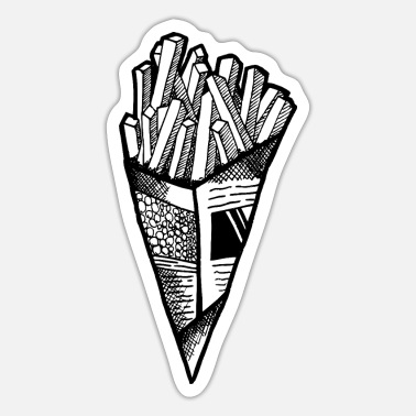 Pommesgabel chips, fries, pommes - Sticker