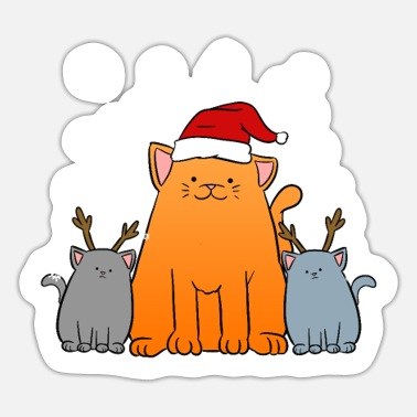 Cat Christmas Christmas Cats Cats Christmas - Sticker