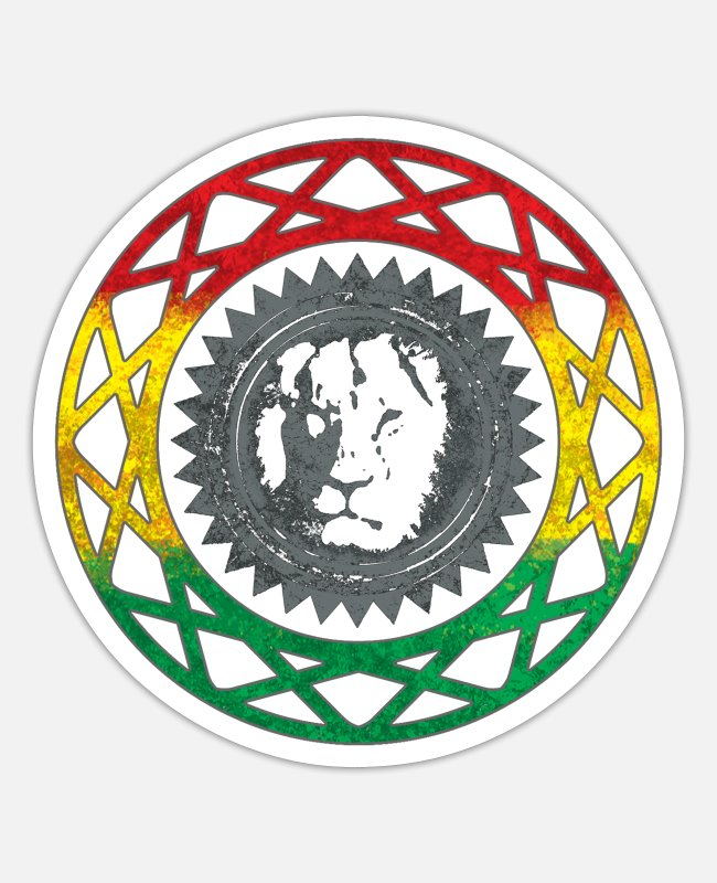 Rastafari Stickers - Reggae Rastafari Mandala - Sticker white matte