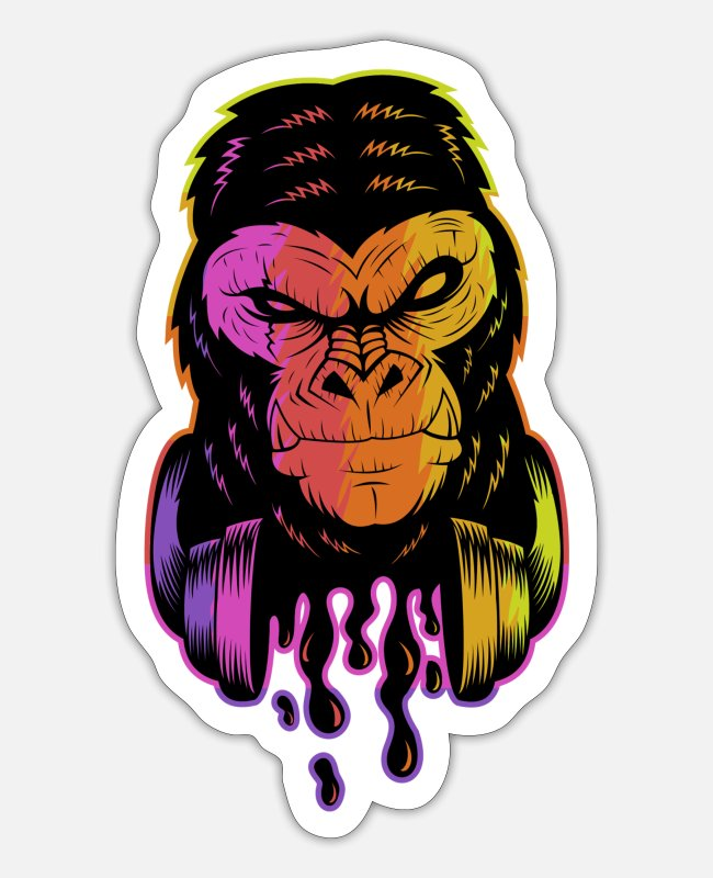 Headset Stickers - gorilla - Sticker white matte