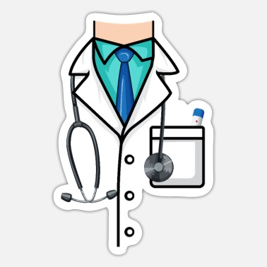 Gown Doctor Dress surgical gown Costume stethoscope - Sticker