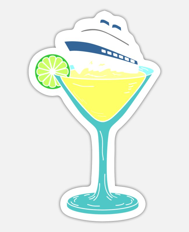 Cruise Stickers - Cocktail ship cruise ship - Sticker white matte
