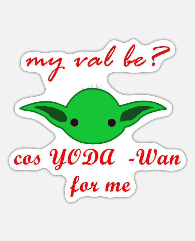 Red Cross Stickers - cute baby yoda valentine red - Sticker white matte