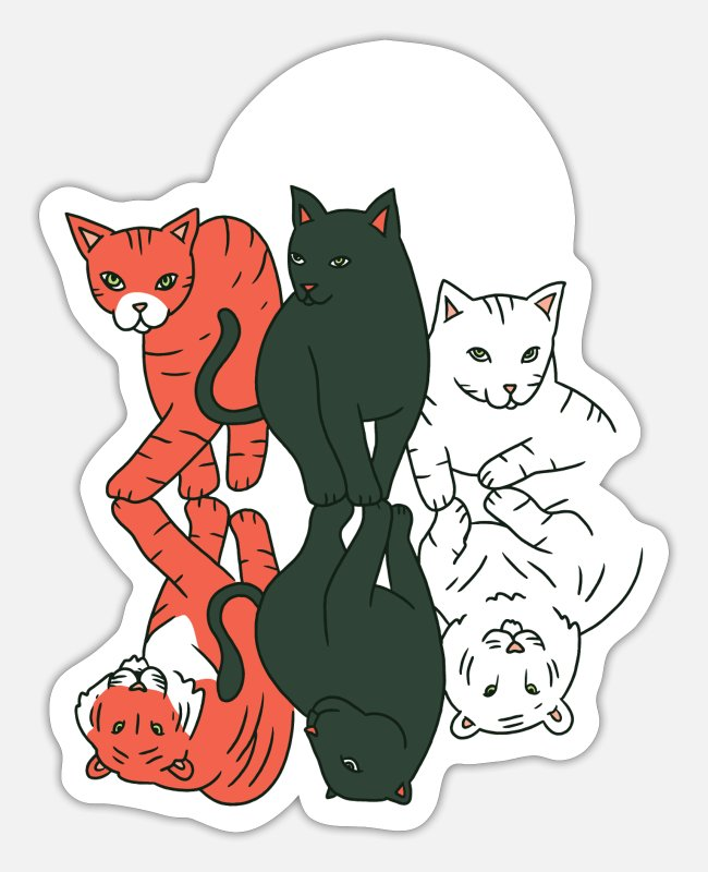 Tomcat Stickers - Cats big cats reflection tiger jaguar leopard - Sticker white matte
