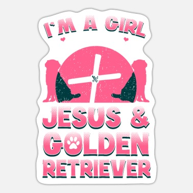 Cute Golden Retriever Runs On Jesus And Golden Retriever - Sticker