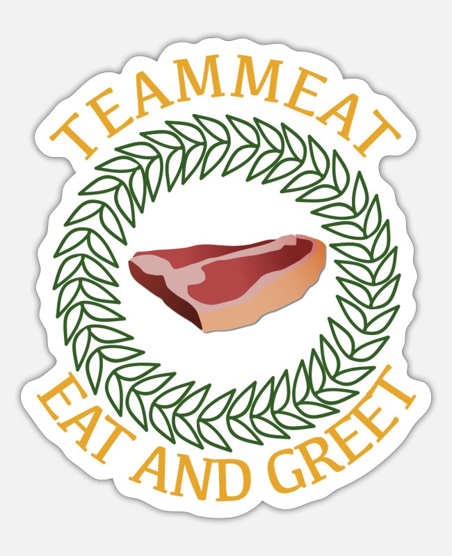 BBQ Stickers - TEAM MEAT - Sticker white matte