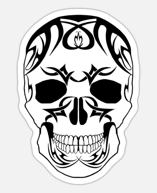 White Stickers - TRIBAL SKULL WHITE FILLING - Sticker white matte