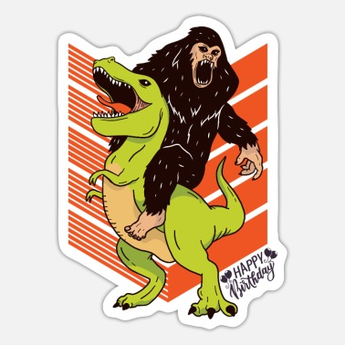 Happy Ape Dino Ape Happy Birthday boys and girls - Sticker