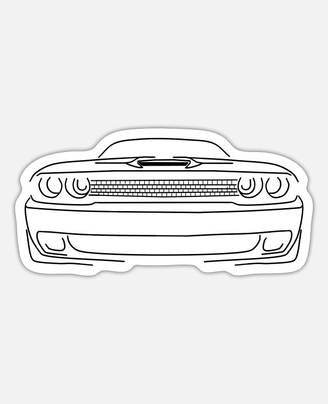 V8 Stickers - Dodge Challenger , - Sticker white matte