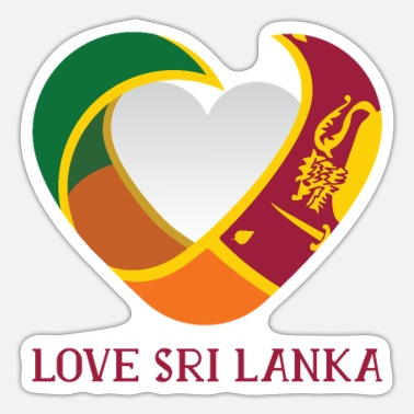Sri Lankans Sri Lanka Love heart with sri lankan flag - Sticker