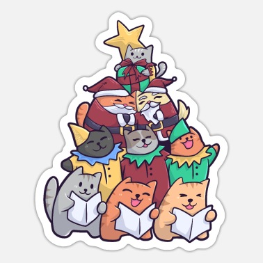 Cat Christmas Christmas Cat Christmas Cat - Sticker