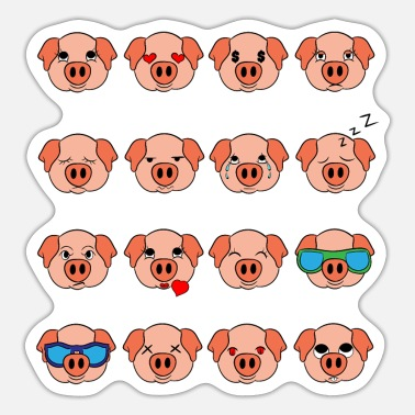 Meaty Cute Pig Pink Different Mood Emoticon Faces Of - Sticker