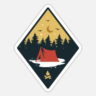 Month Tent With Campfire - Sticker