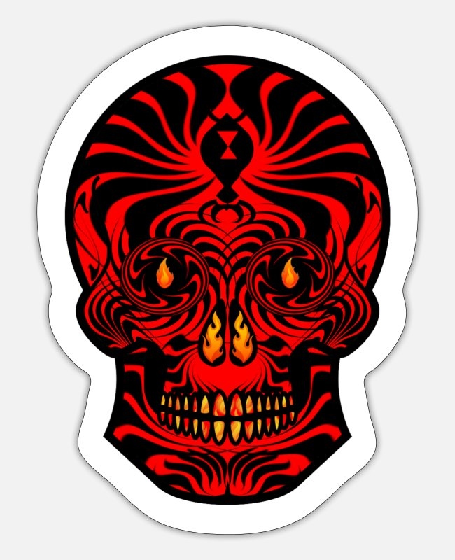 New Zealand Stickers - Tribal Skull Black Red Tribal Skull Tribal Tattoo - Sticker white matte