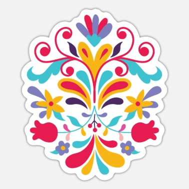 Otomi Mexican otomi art flower - Sticker
