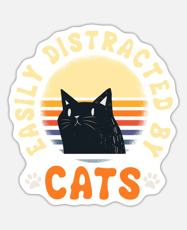 Cats Stickers - Funny Cats T-shirt Gift Cat - Sticker white matte