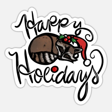 Holidays Happy Holidays Raccoon - Sticker