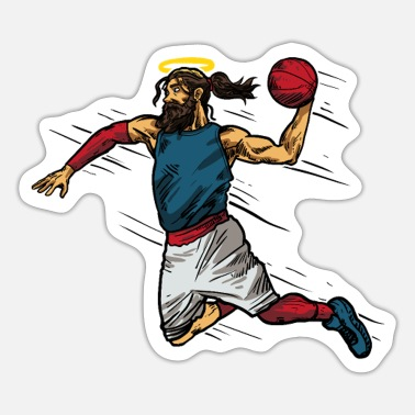 Basketball Cool Jesus Basketball Gift Idea - Sticker
