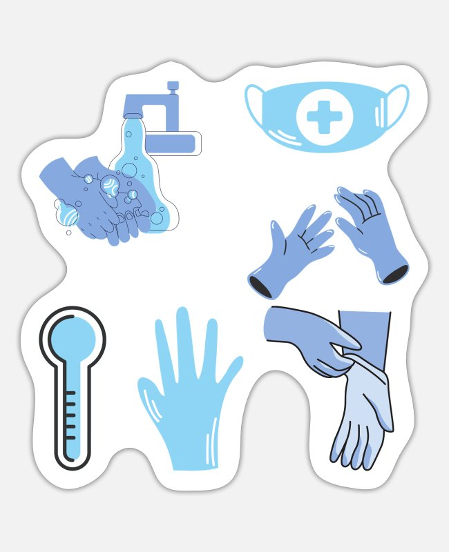 Virus Stickers - Coronavirus stickers pack one - Sticker white matte