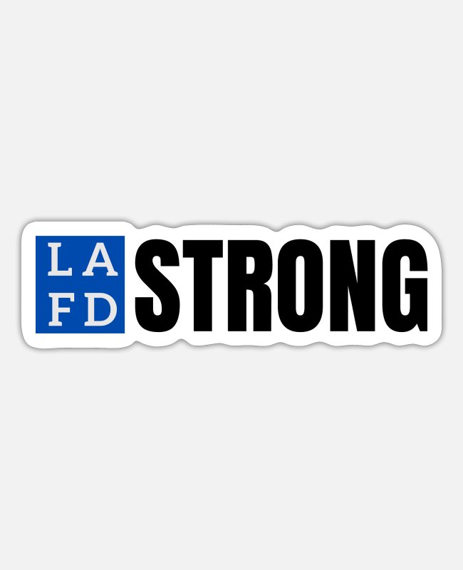 Fire Department Stickers - LAFD STRONG, LA - Sticker white matte